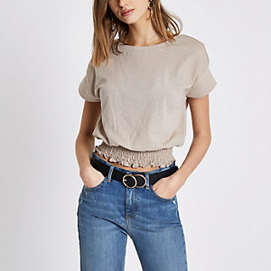 Dark beige shirred hem T-shirt