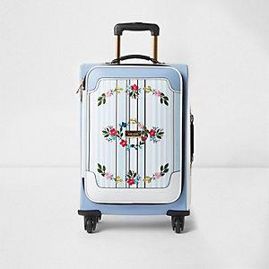Blauwe gestreepte koffer met vier wielen en borduursel