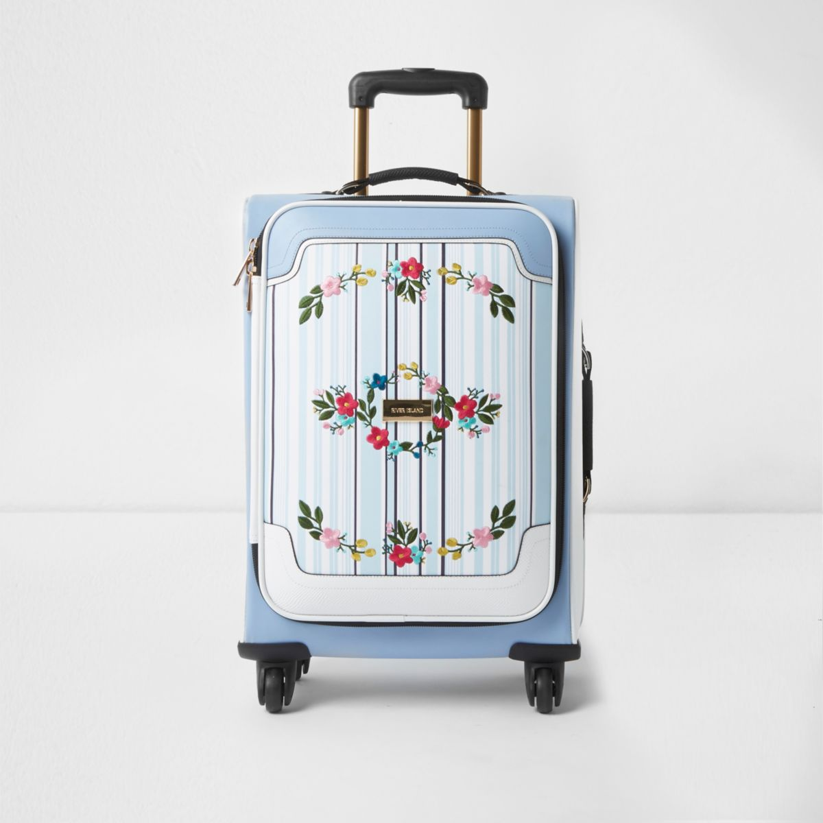 Blue stripe embroidered four wheel suitcase