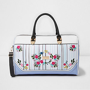 Blue stripe floral embroidered weekend bag