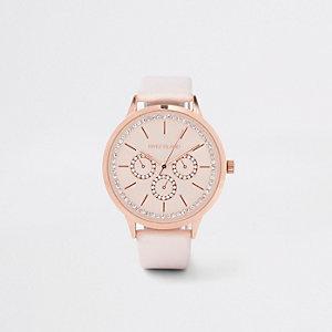Pinke Armbanduhr in Roségold