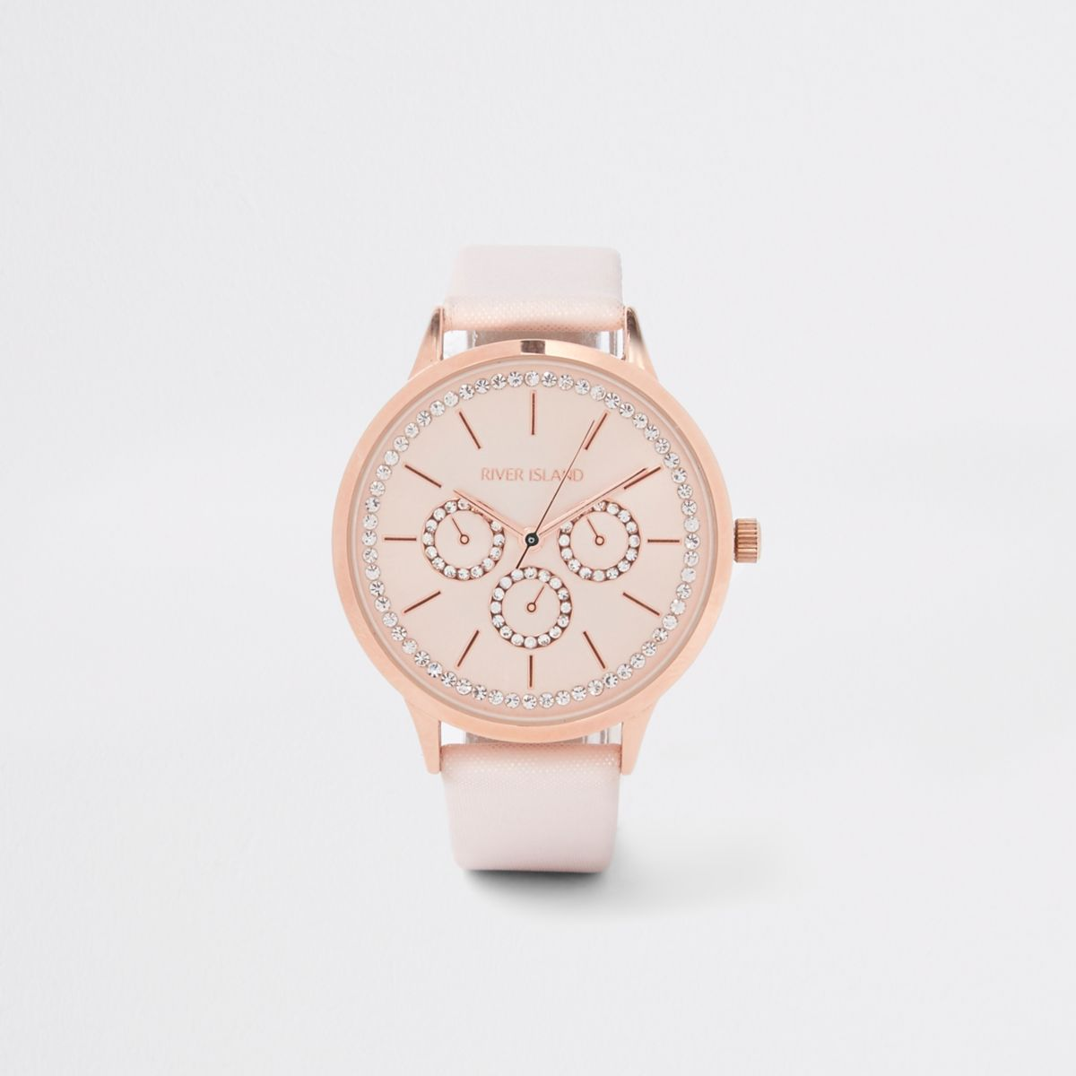 Pink rose gold tone iridescent watch
