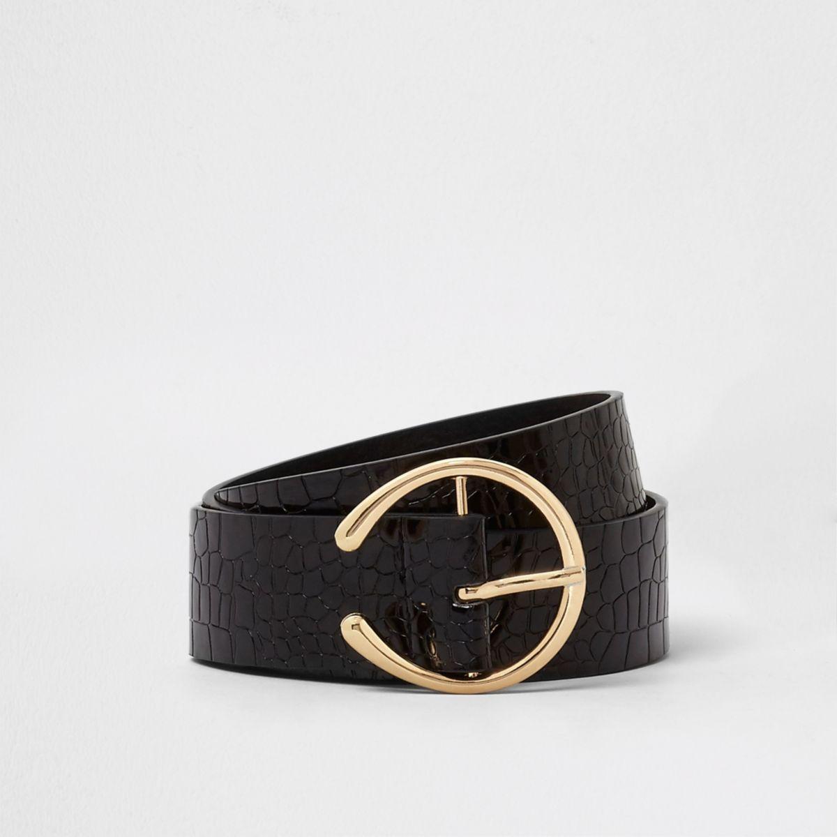 Black croc embossed horseshoe buckle belt