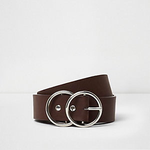 Bruine jeansriem met gesp en dubbele ring