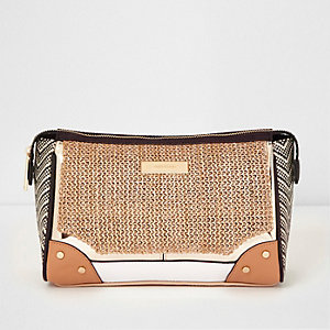 Beige woven zip top make-up bag