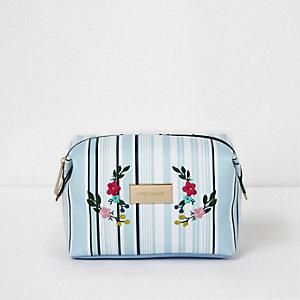 Blue stripe floral embroidered make-up bag