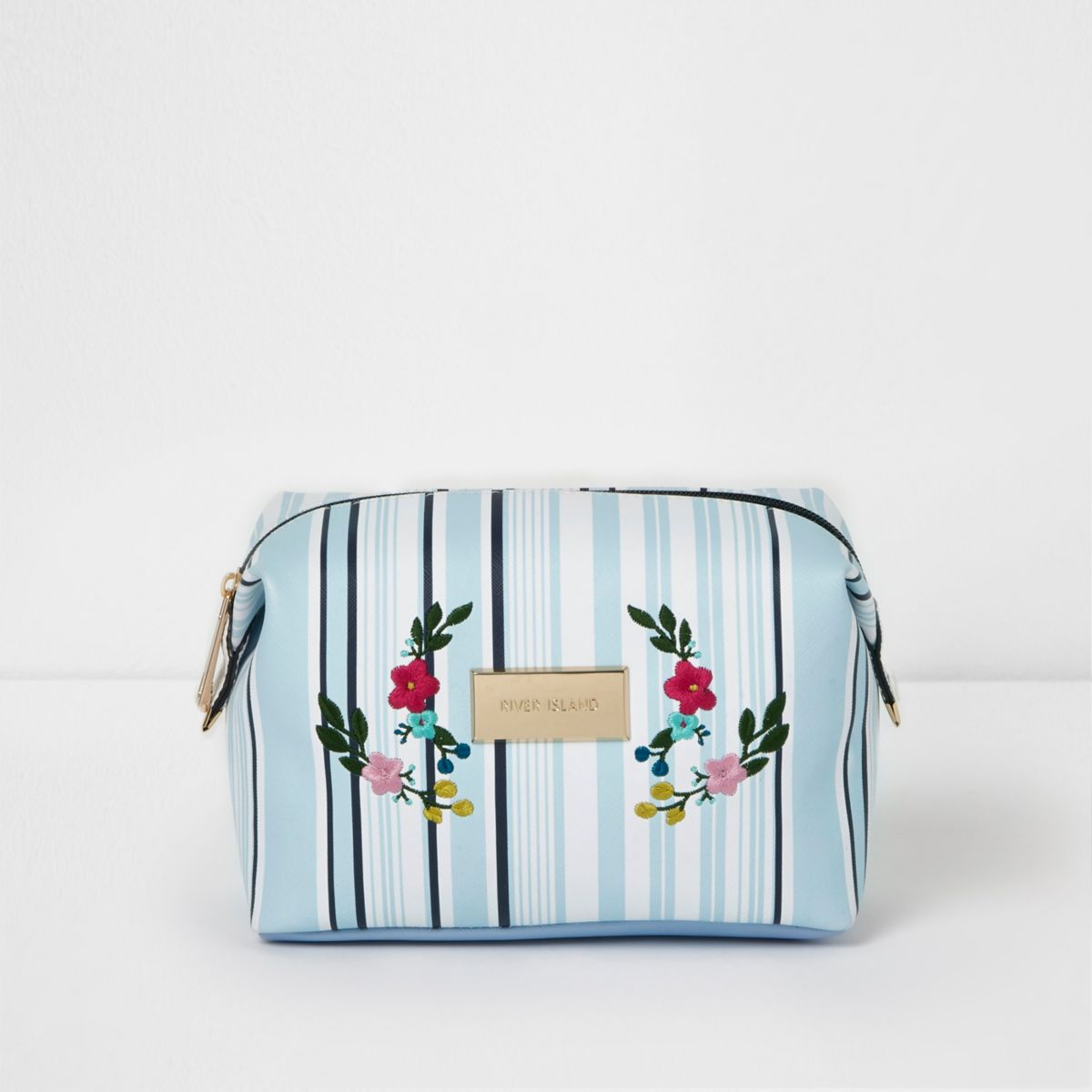 Blue stripe floral embroidered make-up bag