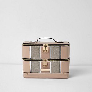 Beige metallic panel vanity case