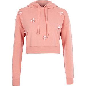 Pink embellished cropped hoodie