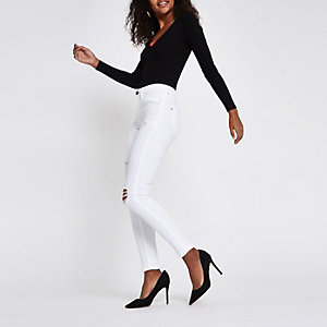 White Molly ripped skinny jeggings