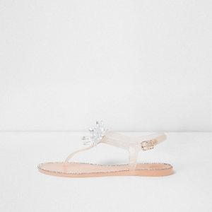 Roze jelly sandalen met siersteentjes en bloem