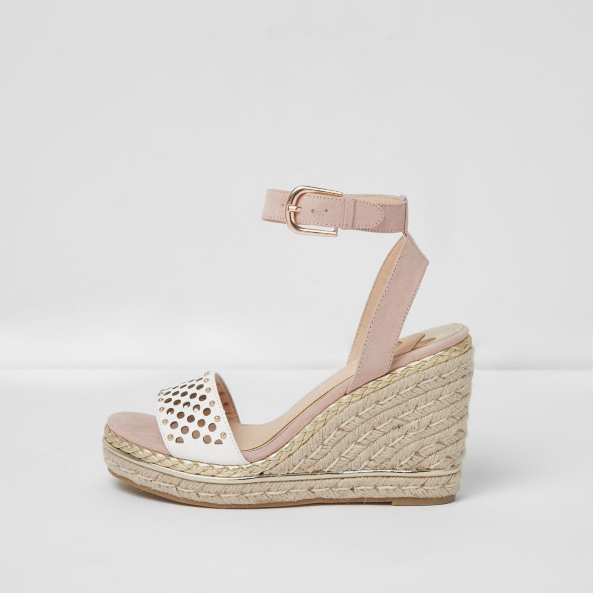 Pink laser cut studded espadrille wedges