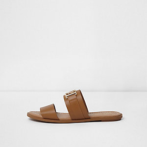 Tan double strap flat mules