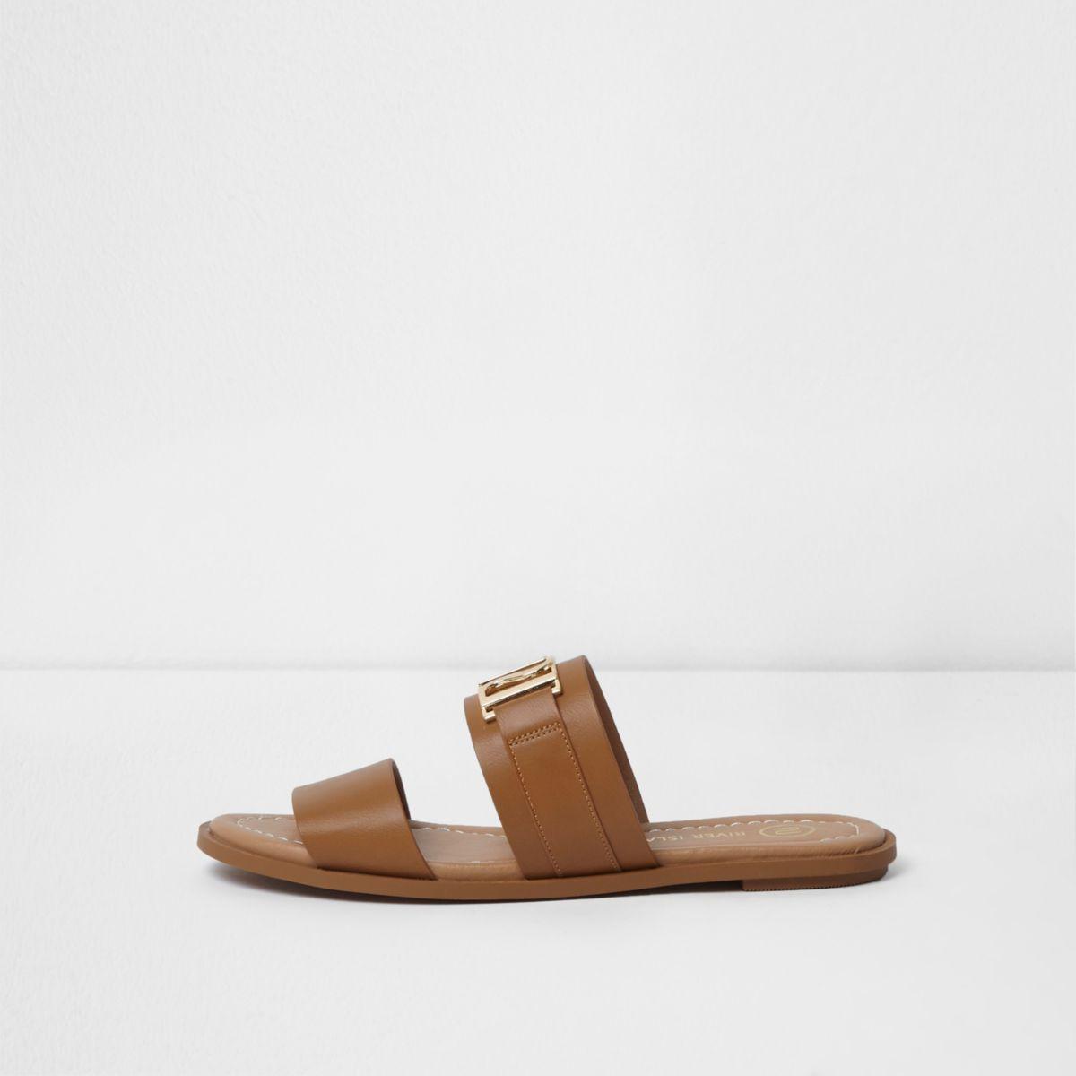 Tan double strap flat mules
