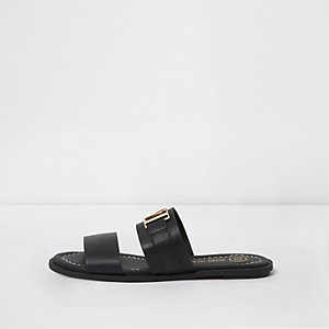 Black strappy RI branded mules