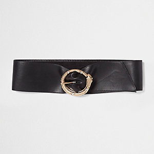 Black snake buckle soft waist belt