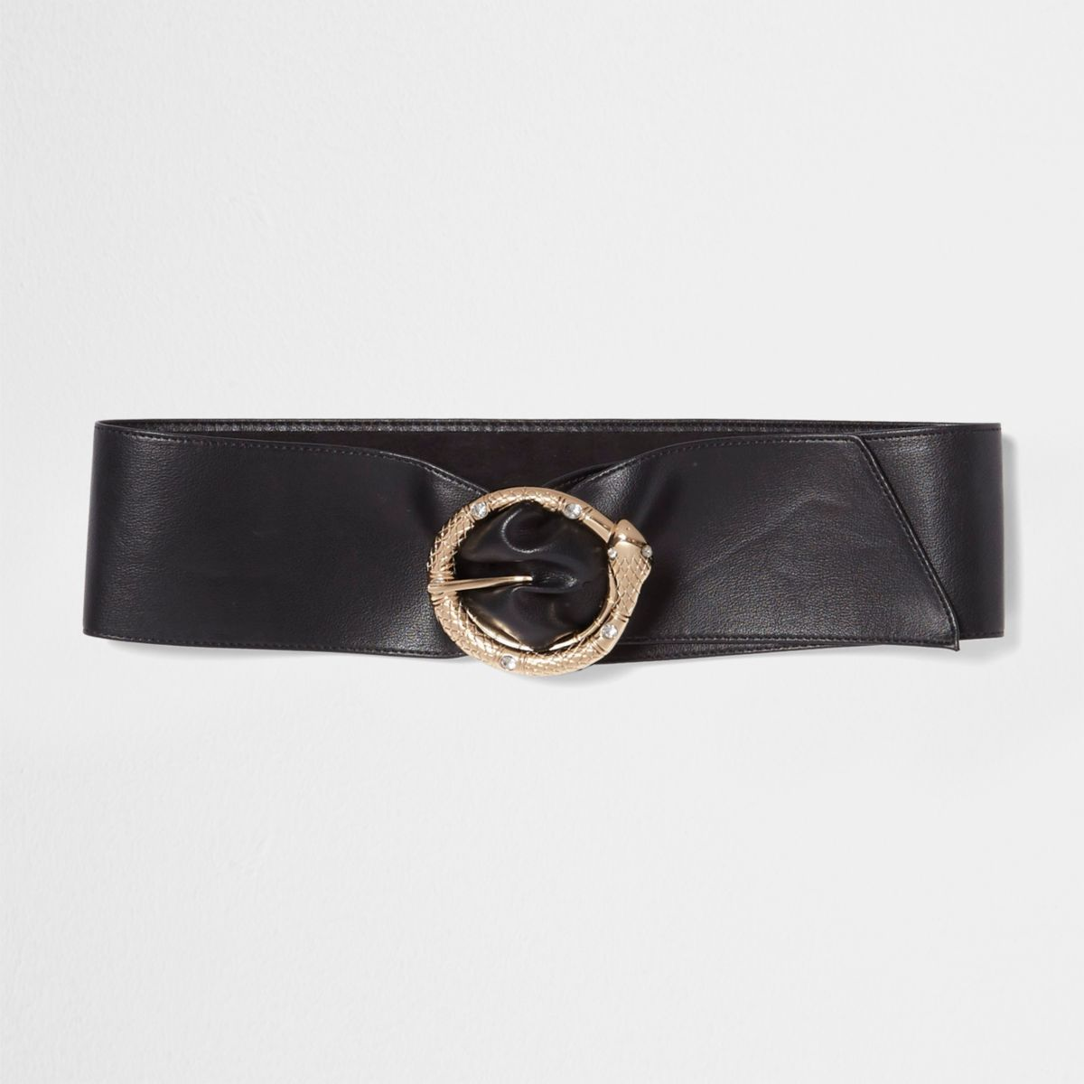 Black snake buckle soft waist belt