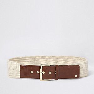 Cream woven knit buckle waist belt