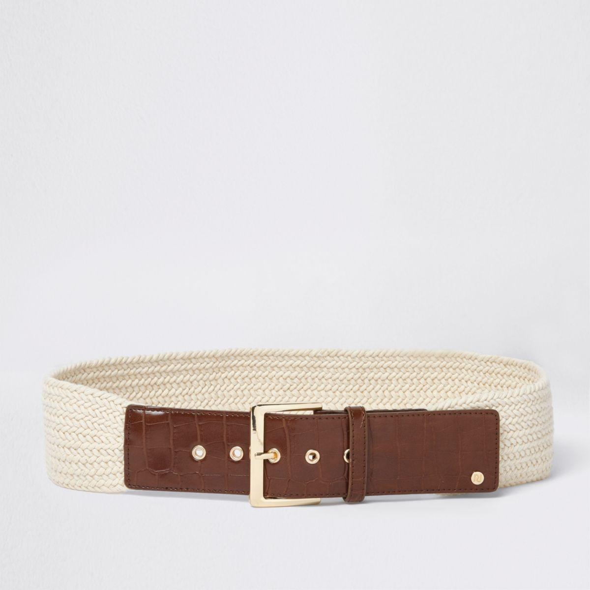 Cream woven knit buckle waist belt