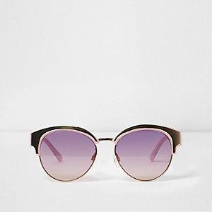 Paarse zonnebril met goudkleurige matte glazen