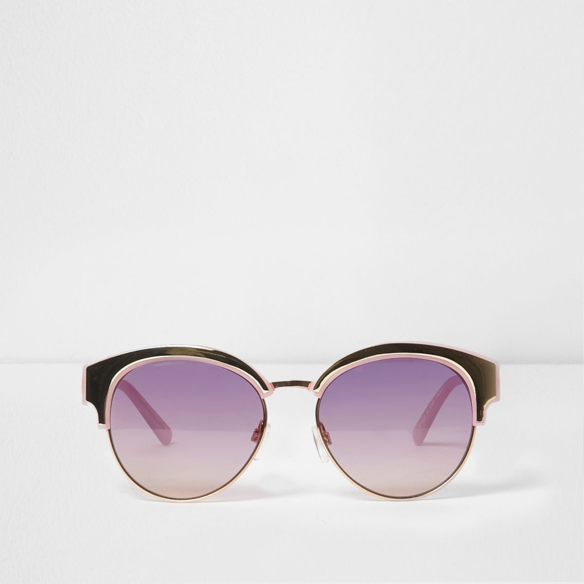 Purple gold tone frosted lens sunglasses