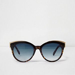 Brown tortoiseshell gold tone trim sunglasses