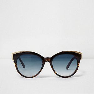 Braune Schildpatt-Sonnenbrille mit Goldbesatz
