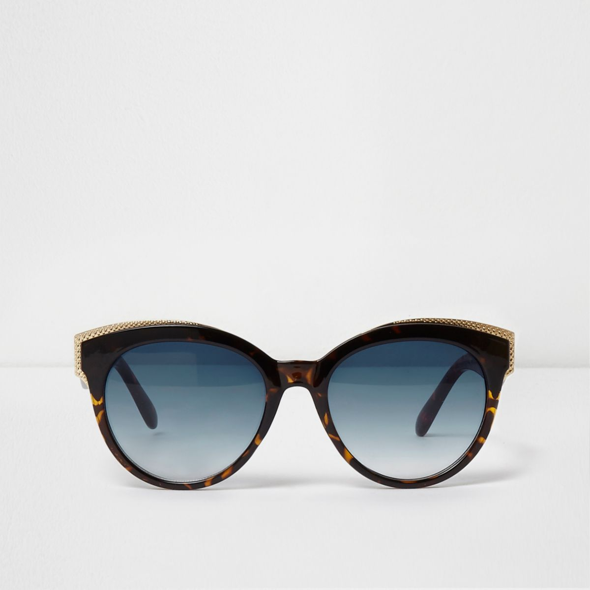 Brown tortoiseshell gold tone trim sunglasses