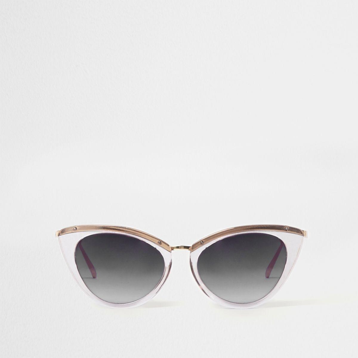 Grey cat eye smoke lens sunglasses