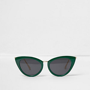Green cat eye smoke lens sunglasses
