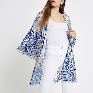 Cobalt blue lace kimono