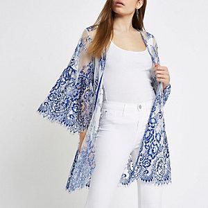 Kimono en dentelle bleu cobalt