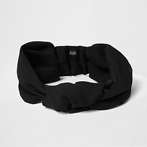 Schwarzes Stirnband mit Knotendesign