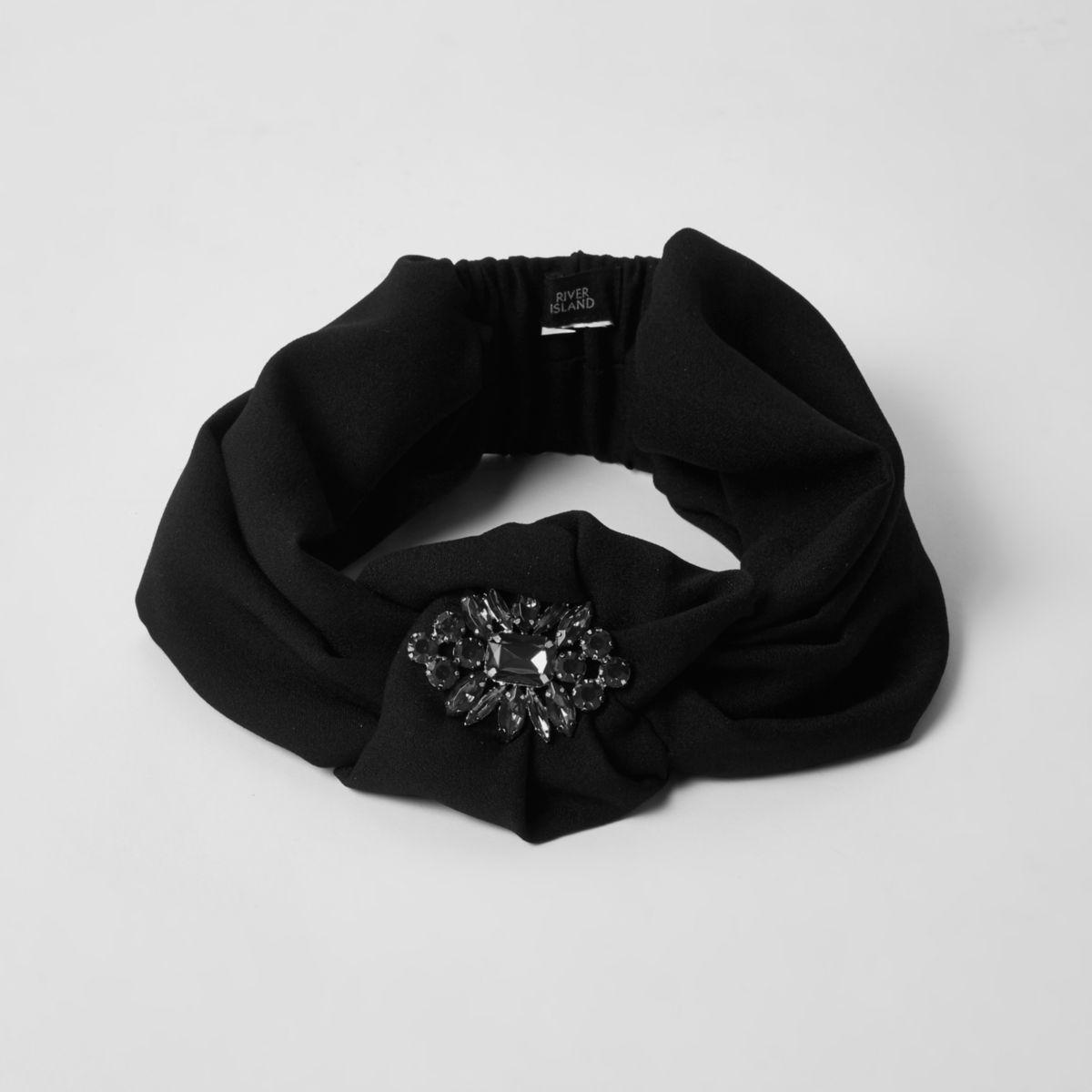 Black jewel embellished knot headband