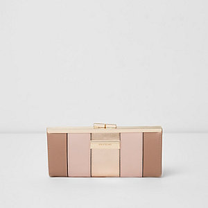 Pink metallic panel slim clip top purse