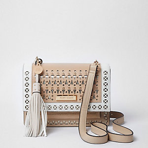 Beige laser cut eyelet cross body bag