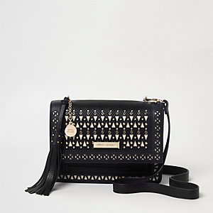 Black laser cut eyelet stud cross body bag