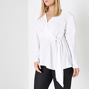 Plus cream wrap long sleeve blouse