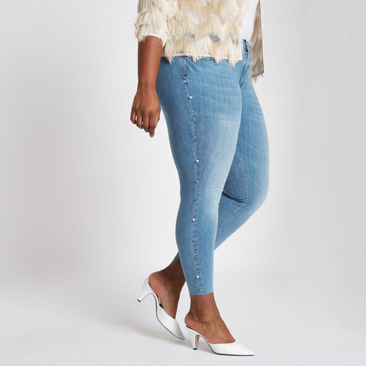 Plus blue faux pearl side Molly jeggings