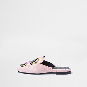 Pink velvet embroidered backless loafers