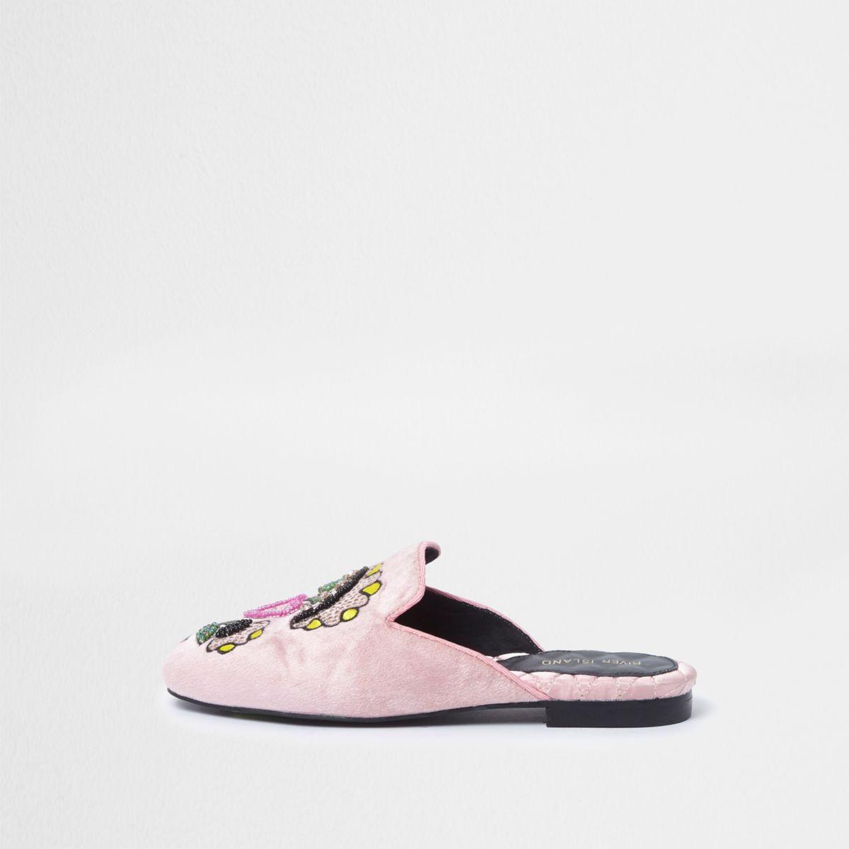 Pink velvet embroidered backless loafers