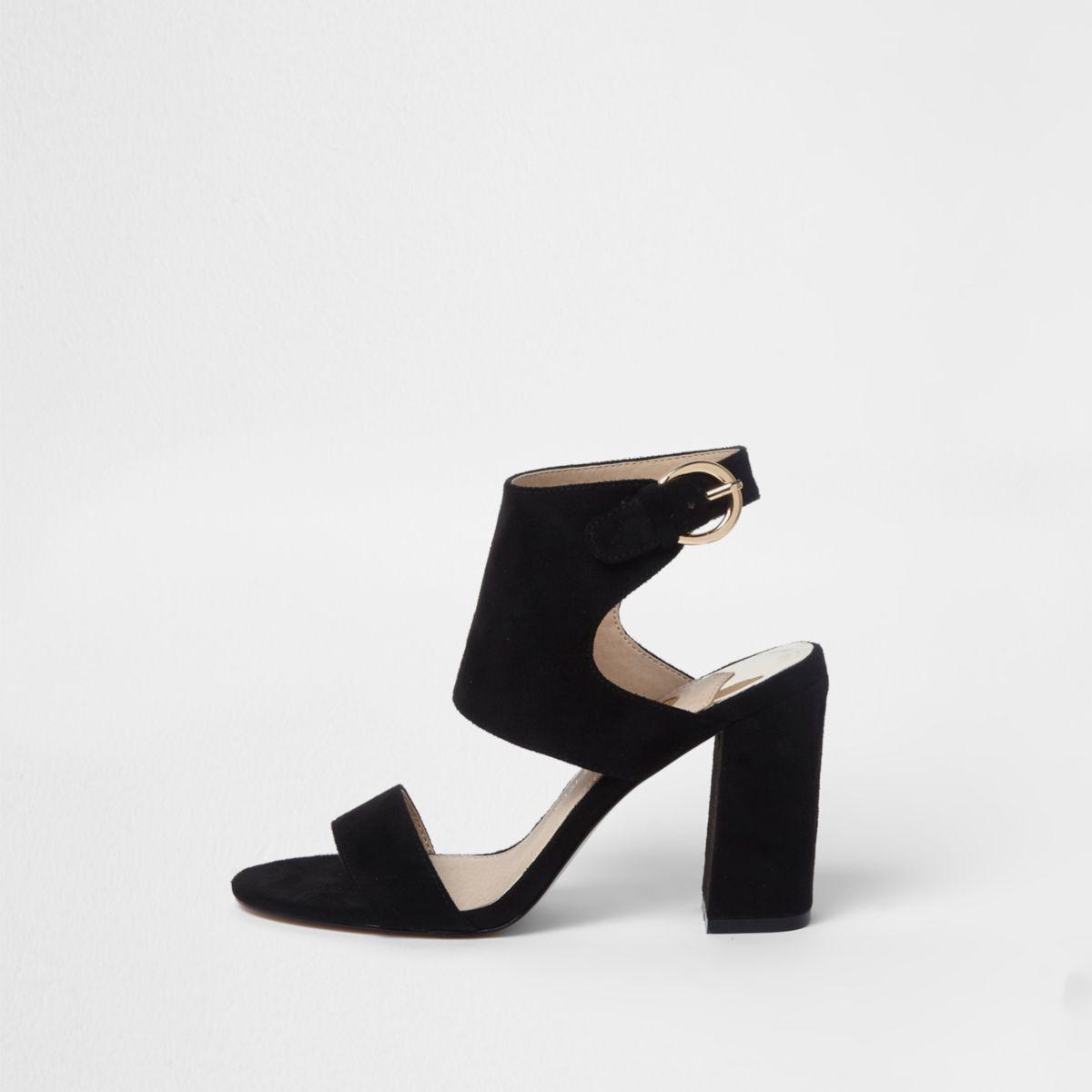 Black block heel sandals