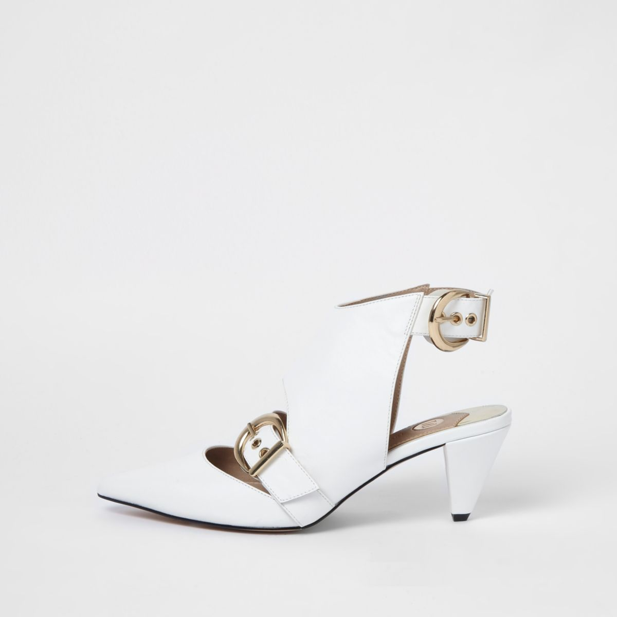 White pointed toe buckle cone heel mules