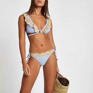 Blue stripe broderie tie side bikini bottoms