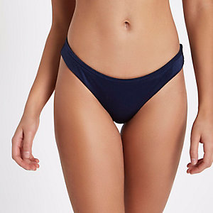 Marineblauw omkeerbaar hoogopgesneden bikinibroekje met ribbels
