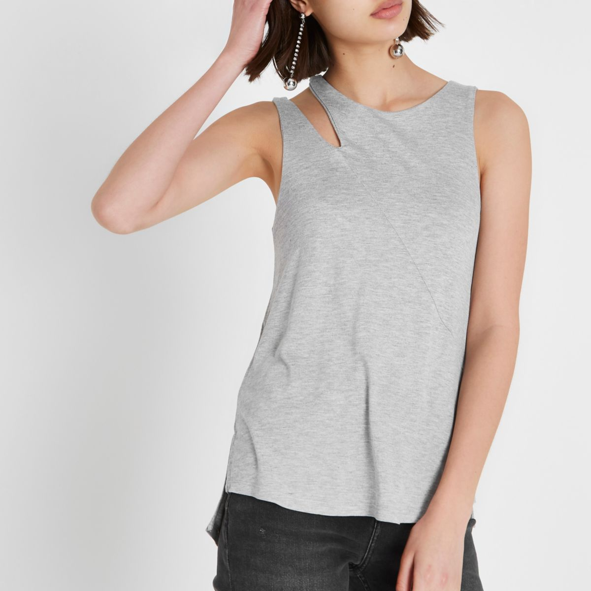 Grey cut out loose fit tank top