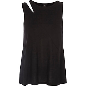Black split shoulder tank