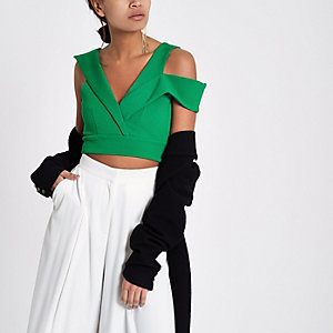 Green tailored detail cropped bralet