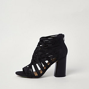Black lattice block heel shoe boots