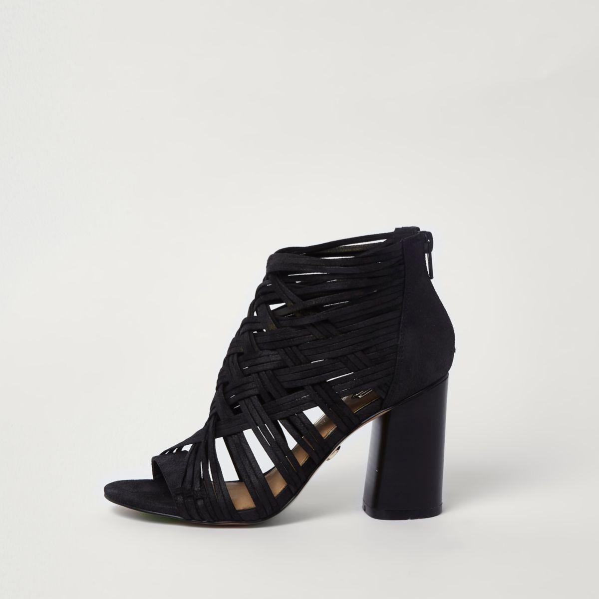 Schwarze Shoe Boots mit Gitterdesign und Blockabsatz